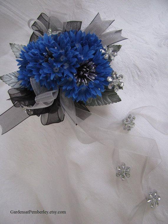Blue cornflower corsage