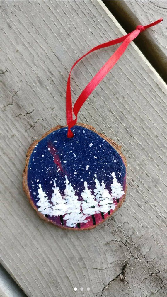 Etsy Christmas Ornaments.Wood Slice Ornament Wooden Ornament Hand Painted Ornament
