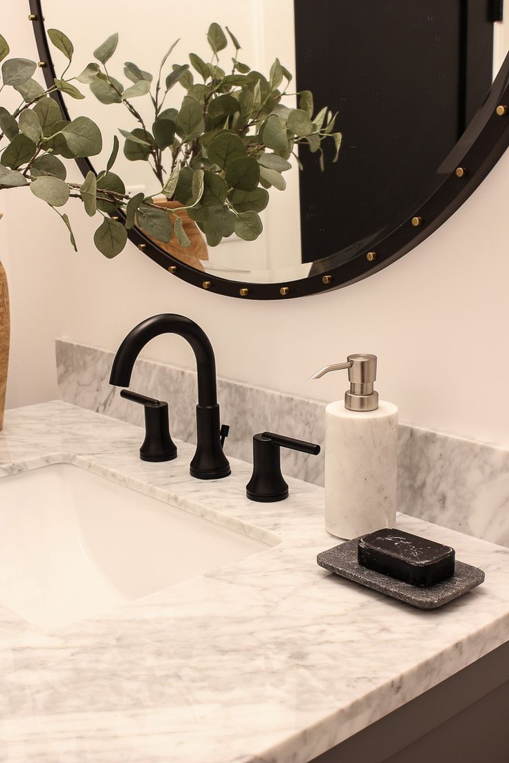 Our Finished Little Powder Bath With Delta The House Of Silver Lining Round Mirror Bathroom Bathroom Faucets Delta Faucets