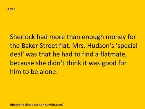 That would be just like Mrs. Hudson. She knows Sherlock shouldn't be alone. As much as he doesn't want to admit it, he needs someone. Headcanon definitely accepted. :)