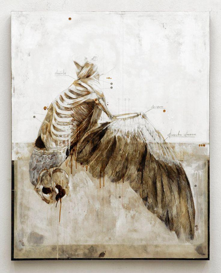 Title: If I can't walk I will learn to fly / Se non potrò camminare imparerò a volare Dim:cm 100x80 Tecnique:pencil, oil, resins, bitumen on canvas / matita, olio, resine, bitume su tela Year:2013