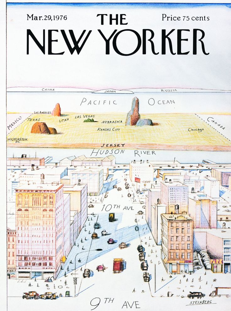 "Saul Steinberg's ""View of the World from Ninth Avenue"" (Cover of the New Yorker from March 29, 1976)"