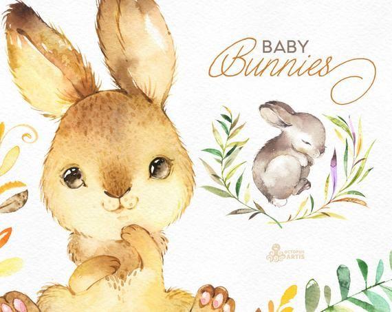 Bebe Lapins Aquarelle Petits Animaux Et Clipart Floral Couronne