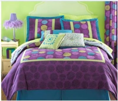 Twin Size Modern Comforter Purple Dot Yellow Bohemian
