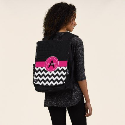 Black Pink Chevron Backpack - monogram gifts unique custom diy personalize