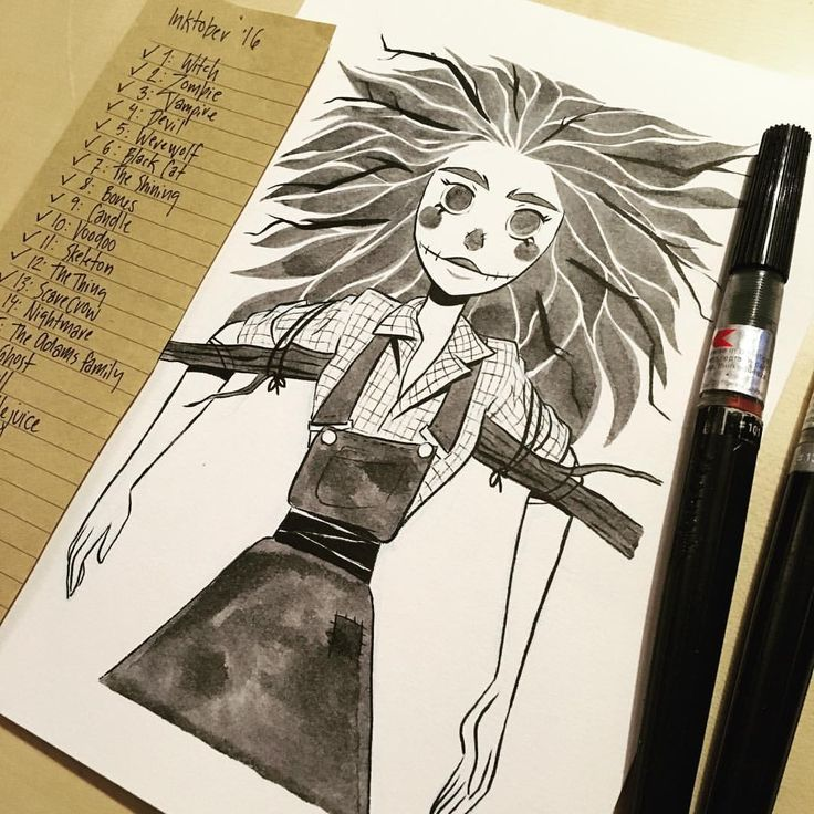 inktober day 13 scarecrow going strong girlsinanimation sketch drawing