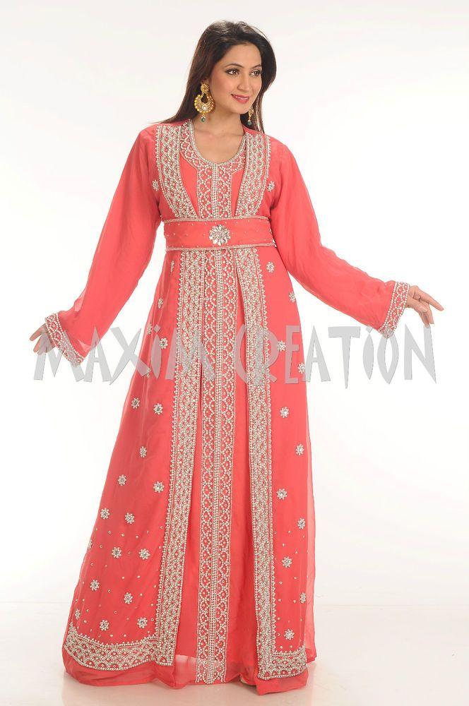 NEW Moroccan Tomato Georgette Thobe  GOLD Embroidery Dubai Abaya Maxi Dress 4341