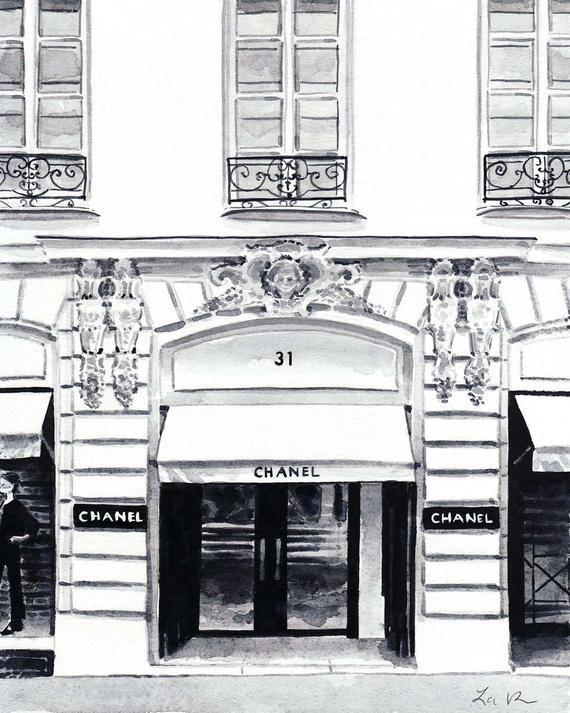 Art Print Chanel 31 Rue Cambon Boutique Paris Watercolor Painting