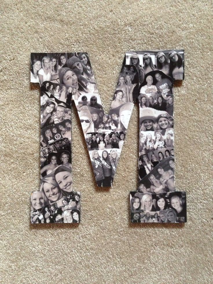 Using the first letter of my six best friends first names I made them all this fun collage of pictures of us throughout High School. Great graduation gift, and super easy to make! They will also look great in our dorm rooms next year!