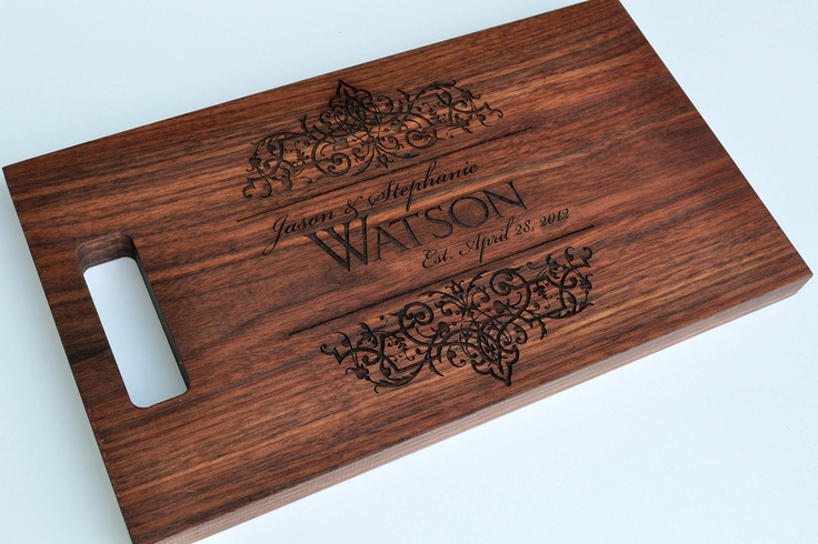 Gift: Personalized Cutting Board Laser Engraved Walnut 8x14 Wood Cutting Board