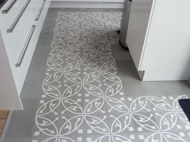 White Grey Portuguese Tiles Kitchen Floor