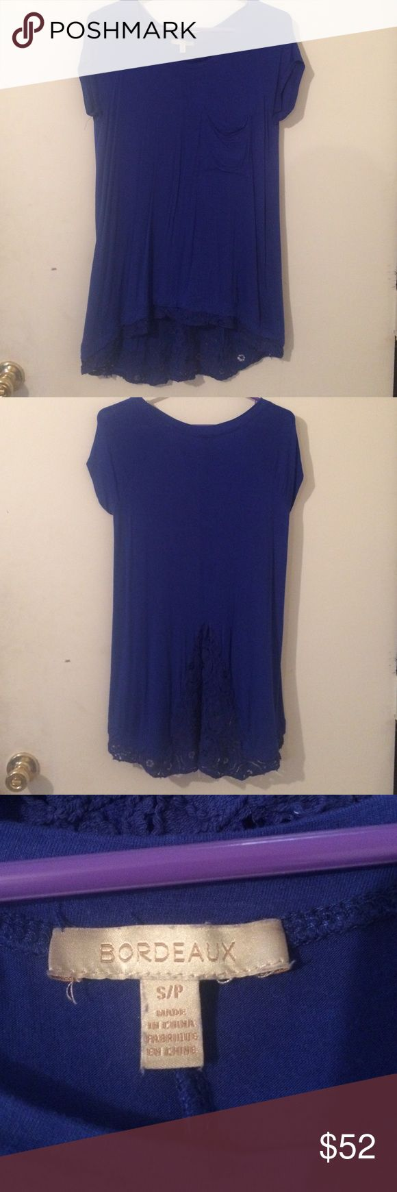💃🏻just in Bordeaux tunic/dress Gorgeous electric blue dress by Bordeaux for Urban Outfitters can be worn as a tunic with leggings or jeans -insert of lace at back which becomes trim along bottom of the dress S/p , tshirt style with front pocket & crew neckline Urban Outfitters Dresses