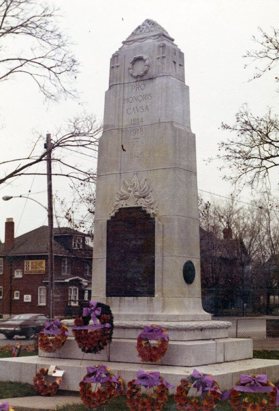 Whitby Cenotaph, 1977, D2013_005_007. The cenotaph was erected at the south west corner of Dundas Street and Green Street and was unveiled by Colonel Henry Cockshutt, Ontario's Lieutenant-Governor, on June 3, 1924.