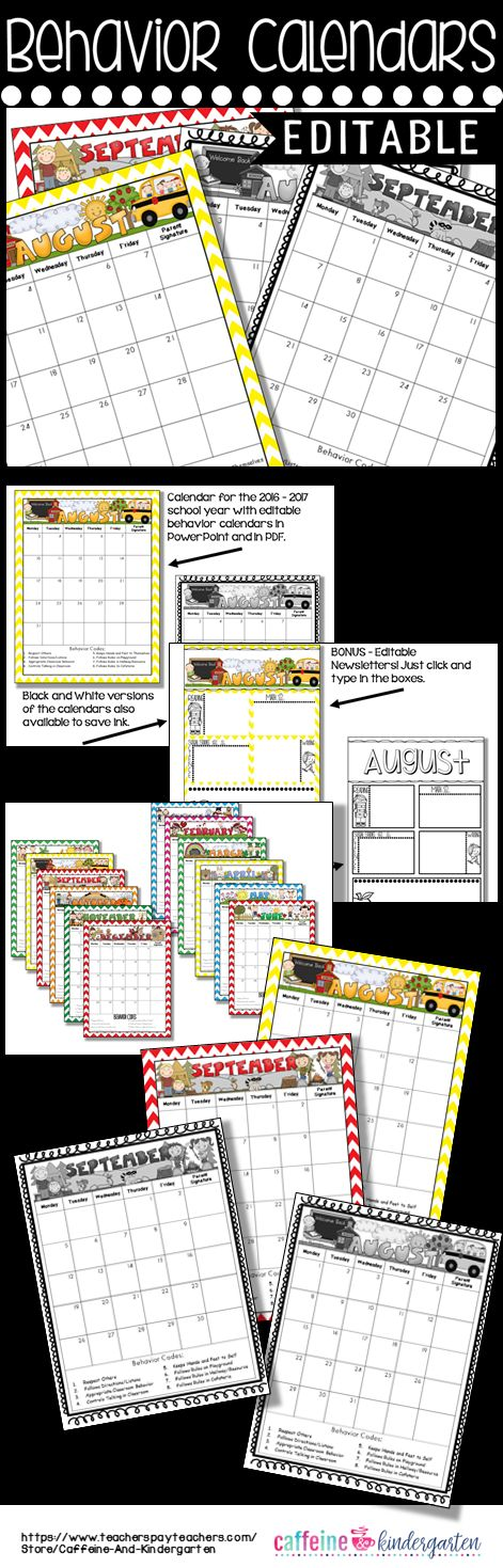 Behavior calendars that are editable to put in your own behavior codes!