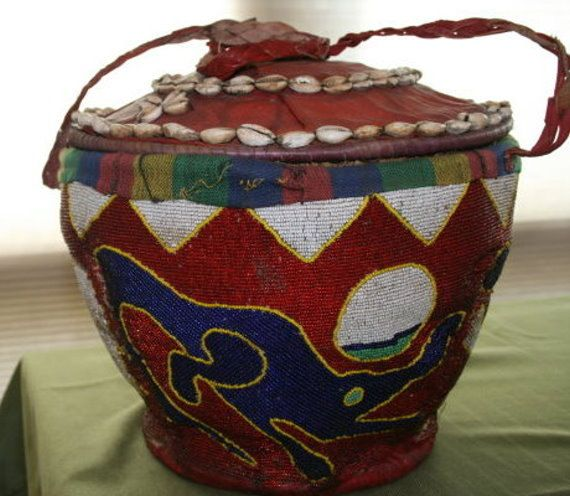 African Beaded Basket with Straps. $275.00, via Etsy.
