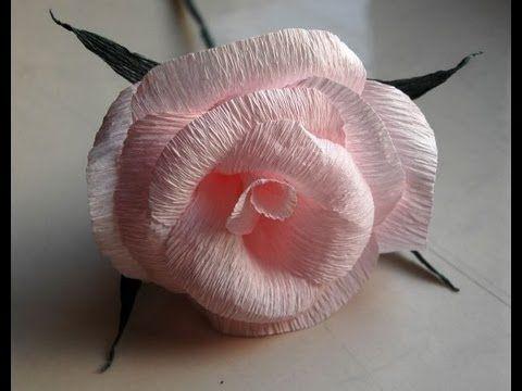 DIY Anleitung für Rosen aus Krepppapier - die Blätter in dieser Anleitung finde ich realistischer.