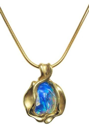 18k yellow gold with opal by Hanna Cook-Wallace.