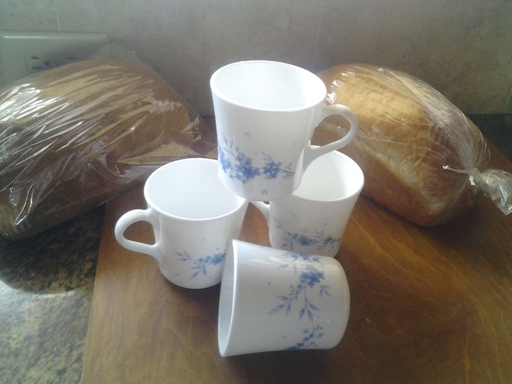 On Sale Blue and White Floral Pyrex/Corning  Glass Mugs by EastIdahoCompany on Etsy https://www.etsy.com/listing/126953461/on-sale-blue-and-white-floral