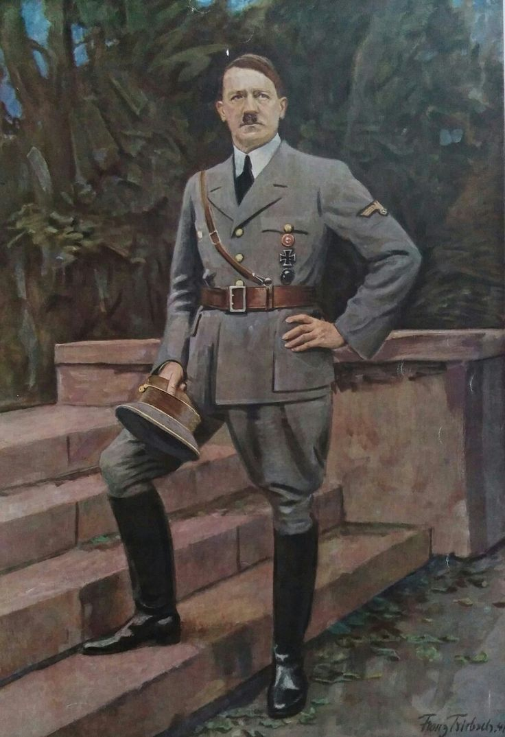 """fuehrer3345:  gespensterdivision:  Reichs Kunst: der Führer painting by Franz Triebsch  Hitler's 'first soldier of the reich' uniform With announcement of the attack on Poland, Hitler adopted a field grey version of his NSDAP uniform, replacing his party armband with a large national eagle.  Within that September 1st speech, Hitler pledged to the german people that he was the 'first soldier of the German Reich' and would wear his army style uniform until """"victory has been achieved or I will…"""