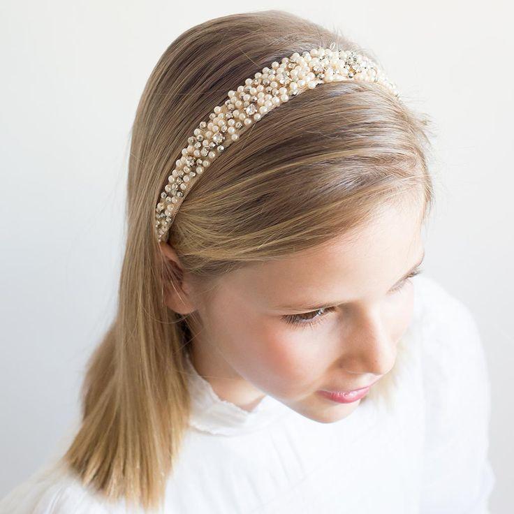 Diadema con perlas para ni as para el d a de su primera comuni n diademas tocados y coronas - Diademas para ninas ...