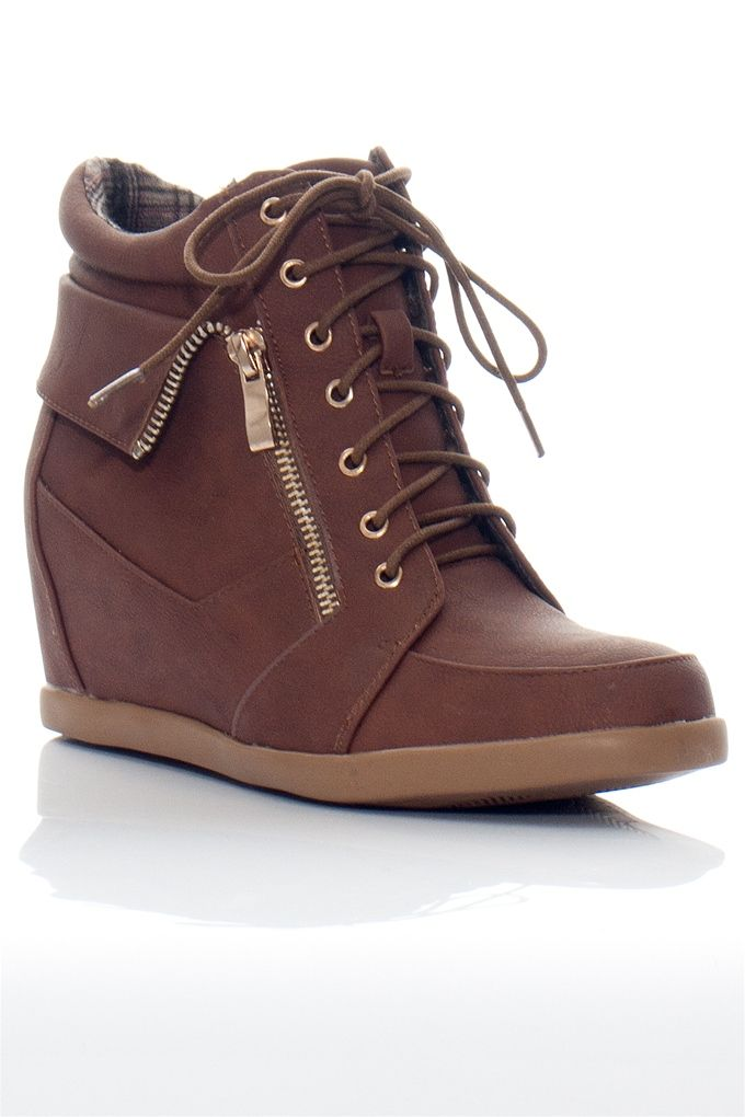 Hiding in Plain Sight PETER-2 Lace Up Hidden Wedge Sneakers - Tan from Top Moda at Lucky 21