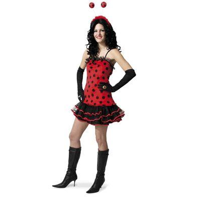 Lieveheersbeestje jurkje voor dames. Leuk jurkje in de kleur rood met zwarte stippen, net zoals een echt lieveheersbeestje!