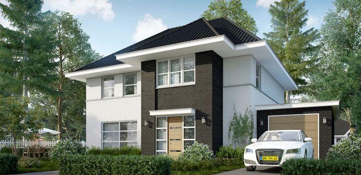 Afbeeldingsresultaat voor wit gekeimd huis met zwart