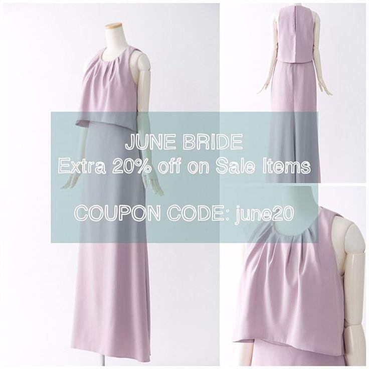 JUNE BRIDE EXTRA SALE�� . いよいよ来週から6月! 当店の#セール ドレスを更にお得にご購入頂ける #クーポン をご用意致しました! . セール価格から更に20%オフとなるクーポンコード 【 june20】を決済前のカート画面でご入力ください . ほとんどのドレスが #一点物 ですが3〜4着ご用意がある #ドレス もございますので、急な #ブライズメイド の依頼にもオススメです .  即日発送が可能ですので、6月中のご結婚式のドレスをお探しの方、是非一度ご覧くださいませ�� . . Instagramのプロフィールからエクラのウェブサイトをクリック→左のメニューのセール・ #アウトレット ドレス一覧よりご覧いただけます�� . #bridesmaids #bridesmaid #bridesmaiddress #pickoftheday #wedding #dress #groomsman #ブライズメイド #ブライズメイドドレス #ウェディングドレス #結婚式 #ウエディング #ワンピ #ワンピース #結婚式コーデ #結婚式ヘア #カラードレス…