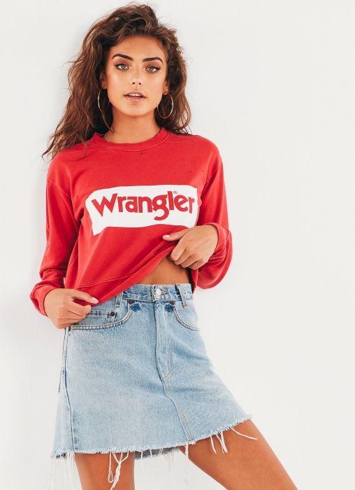 Cropped Logo Fleece Sweatshirt - Faded Red + White