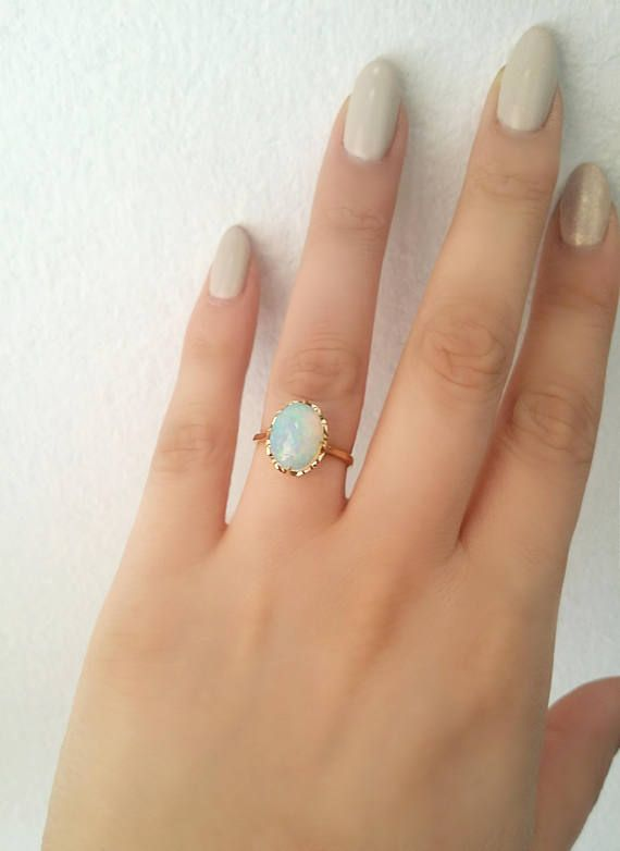 Opal ring Unique engagement ring 18K Solid Yellow Gold