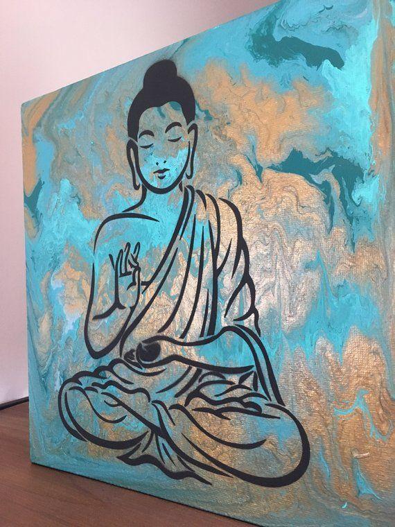 Buddha Gold Wandbild A06180 Canvas Leinwandbild quadratisch auf Keilrahmen