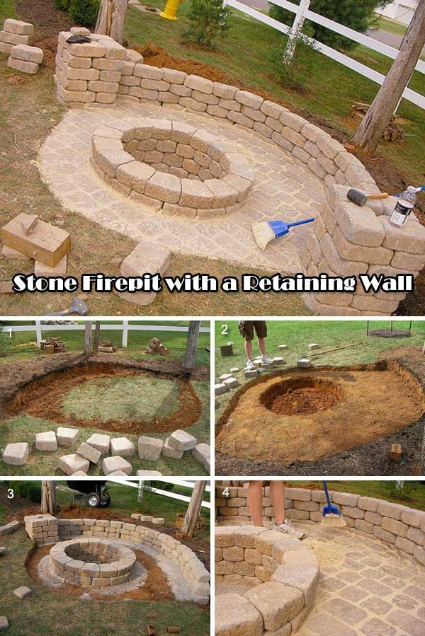 Stone fire pit with a retaining wall. continue read for Tutorial link.