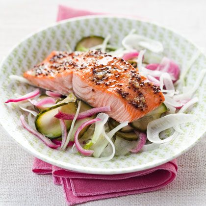 Maple glazed salmon with pickle cucumber