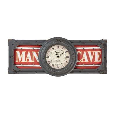 RAM Game Room R872 Lit Metal Man Cave Battery Operated Clock