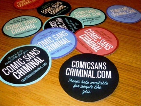 35 Contoh Desain Sticker Sebagai Media Promosi yang Efektif - 28. Comic Sans Criminal Stickers by Matt Dempsey