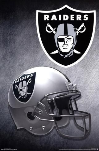 "2015 NFL Oakland Raiders Football Helmet Wall Poster Art Print Affiliate 22"" x 34"""