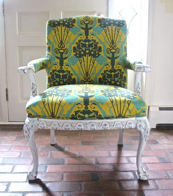 chair fabric, aqua, lemon and pine