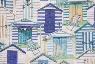 Richloom Beach Hut Printed Poly Outdoor Fabric in Pool $8.95 per yard