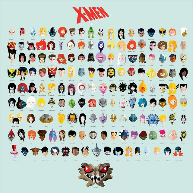 Stylized Illustration Featuring the Faces of X-Men Superheroes & Villains