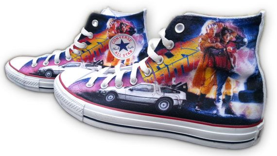 Back to the Future Custom Converse All Stars by ArkhamPrints, $85.00---I NEED THESE!!!!
