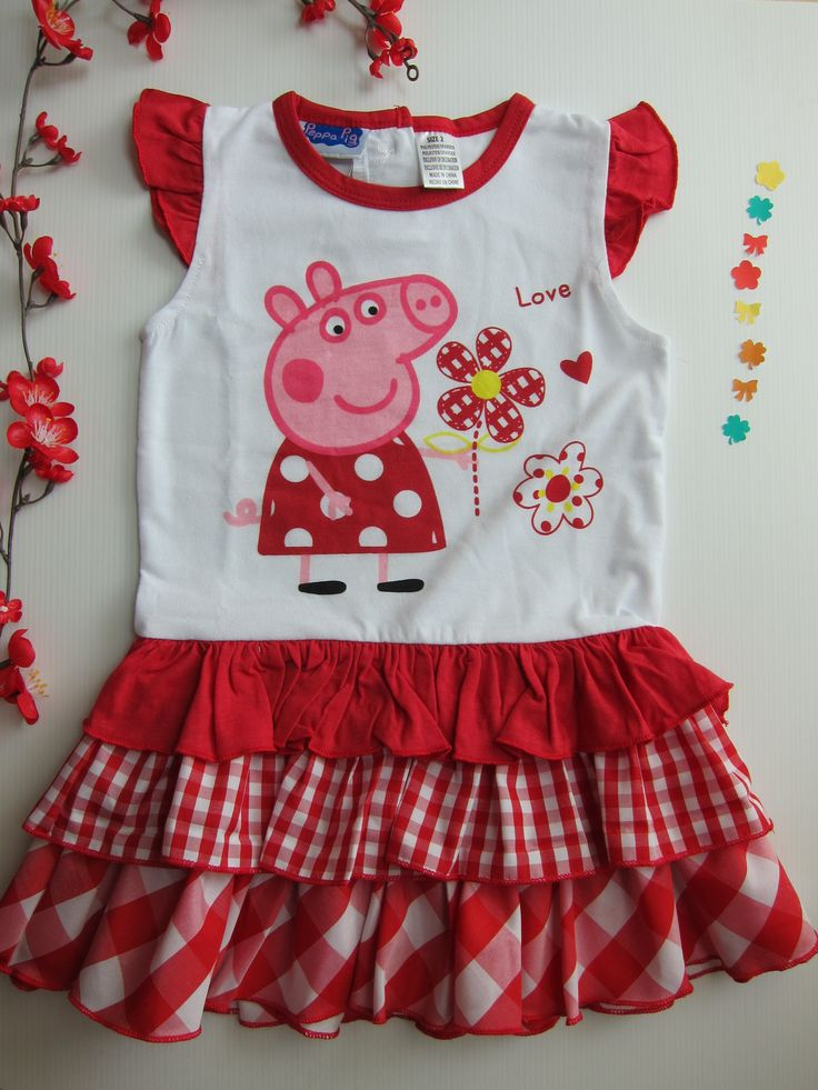 Peppa loving the flowers in a pretty red dress....    Visit http://mygirlygirl.sg for details
