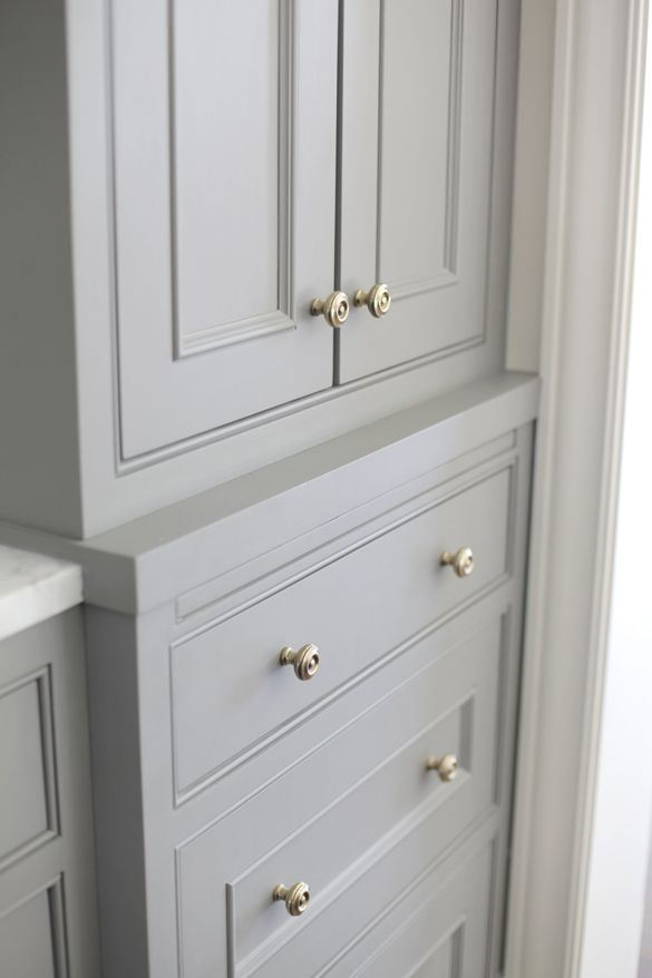 Windermere House/Grey cabinets and I love the hardware