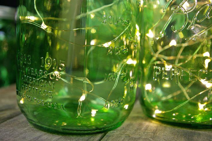 Green Mason Jars Quarts with Warm White Fairy Lights!