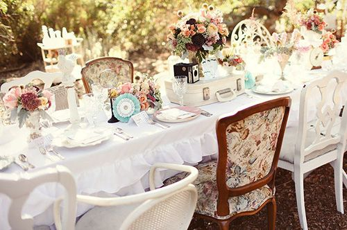 tea party theme: Tables Sets, Vintage Wedding, Chairs, Shabby Chic, Alice In Wonderland, Vintage Teas, Tea Parties, Gardens Parties, Teas Parties
