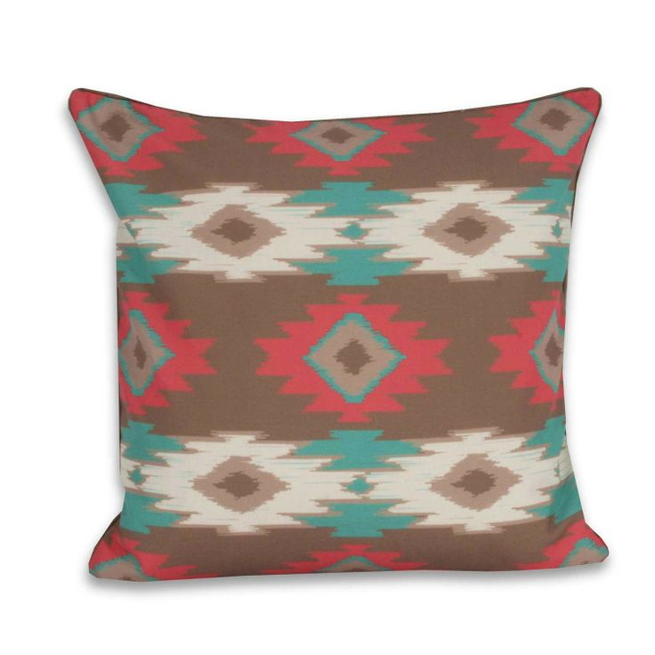 Square Paco Pillow - Tucson - This square pillow with tribal pattern feels cabin chic. pillows ...