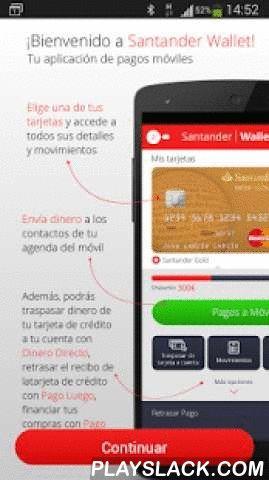 Santander Wallet  Android App - playslack.com , Convierte tu cartera física en digital gracias a Santander Wallet, la aplicación móvil para gestionar el día a día de todos los pagos de Tus Tarjetas Santander sin esperas ni horarios. En ella tienes a tu disposición las siguientes funcionalidades:•Enviar Dinero a tus contactos de móvil sin necesidad de conocer su cuenta•Consulta el detalle de los Movimientos de tus tarjetas•Activar y Bloquear tus tarjetas•Consulta el PIN de tus…