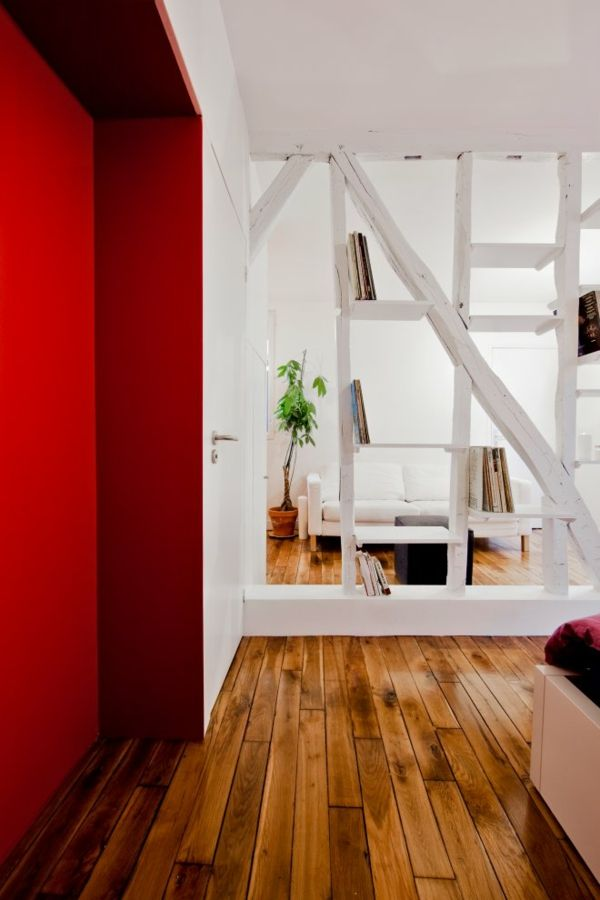 White and red interior design in a Small Apartment in Paris.