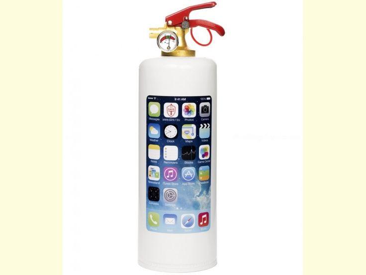 Fantástico Extintor decorado modelo IPHONE con fondo blanco. Ideal para tener en casa o en el coche (garantía de 5 años). El contenido del extintor es de 1 kg. de polvo ABC. Fabricado bajo normativa europea.