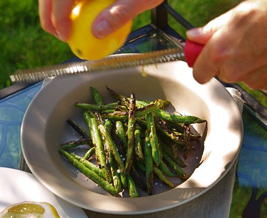 Yummy grilled green beans. Made them tonight. If you don't like spicy things don't use the red peppers! I halved the amount and they were still pretty spicy!