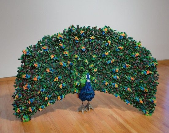 A Lego peacock- click on the link, it's in a different language but it has a bunch more pictures of other things made from Legos